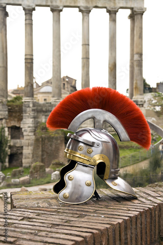 Roman soldier helmet in front of the Fori Imperiali, Rome, Italy