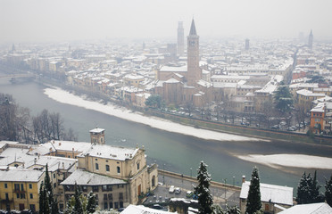 Verona - Outlook from Castel san Pietro in winter