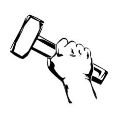 hand holding hammer  illustration