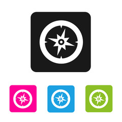 Compass icon - vector colored rounded square shape