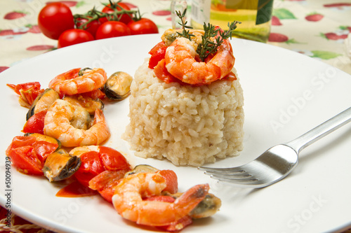 risotto with shrimps and mussels