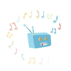 Radio on isolated background. Vector design.