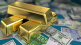 gold bars and money on a table, 3d animation