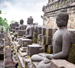 A statue of the Buddha from Borobudur on Java , Indonesia.