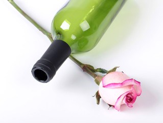Wine bottle and flower
