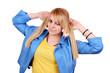 beautiful teenage girl in blue jacket