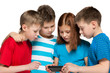 Children plaing with smartphone