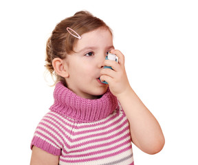 little girl with asthma inhaler