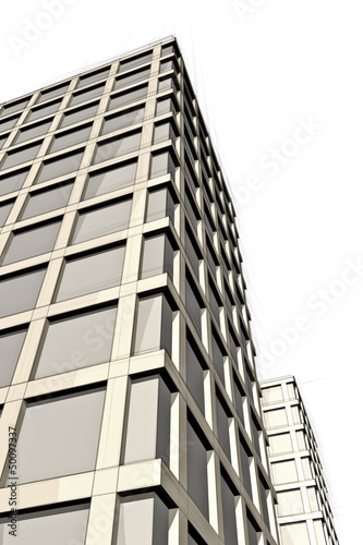 sketch of urban building from below