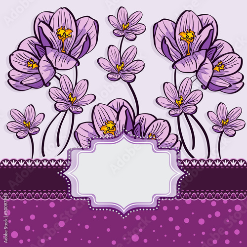 Tuinposter Abstract bloemen Floral background with crocuses