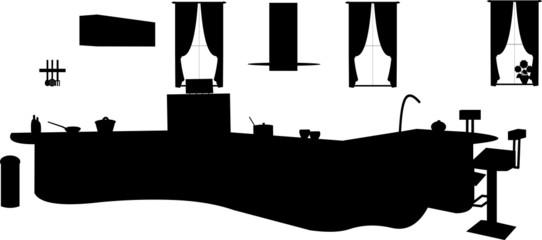 Kitchen interior silhouette