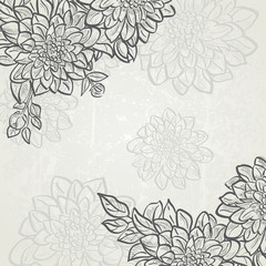 Vintage background with flowers dahlias.