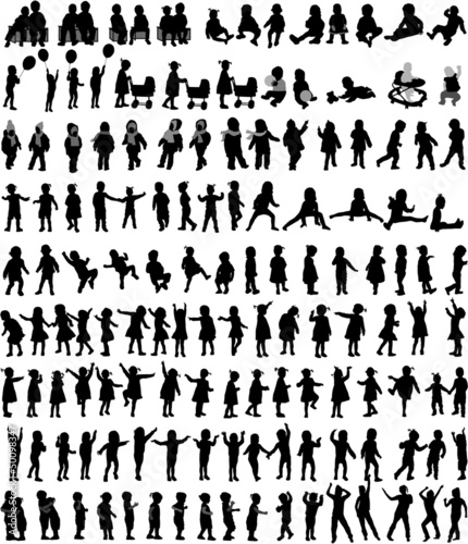 Large collection of children's silhouettes