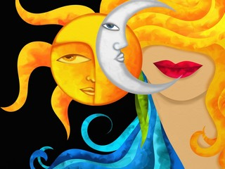 viso con sole e luna