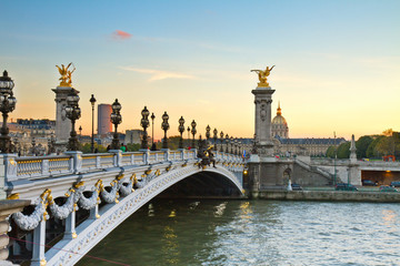 Bridge of Alexandre III at sunset