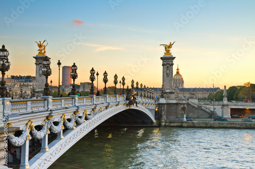 Bridge of Alexandre III at sunset