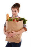 young female holding a shopping bag