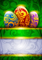 Background with colored Easter eggs and ornaments