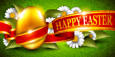 Background with Easter eggs and flowers
