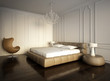 Luxury minimal white bedroom with vintage dark wood floor