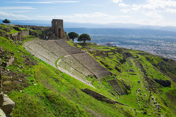 Amphitheater in the ancient city of Pergamon, Bergama, Turkey