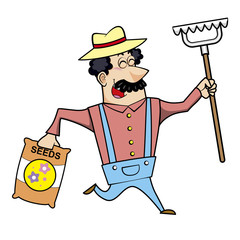 Cartoon Landscaper with Rake and Seed Bag