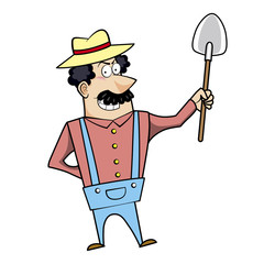 Cartoon Landscaper with Shovel
