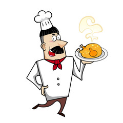 Cartoon Chef with Roast Chicken