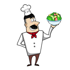 Cartoon Chef with Salad Bowl