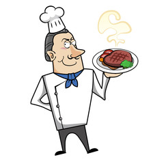 Cartoon Chef with Steak Dinner