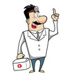 Cartoon Doctor with First Aid Kit