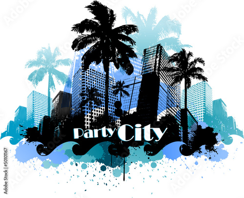 Tropical urban party city background EPS 10