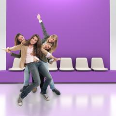 Happy friends indoors