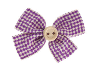 Purple plaid bow tie with button