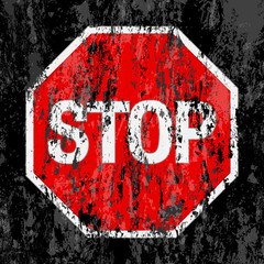 grunge stop sign background