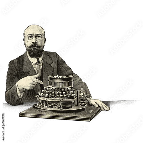Man and typewriter