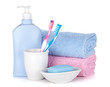 Toothbrushes, gel, soap and two towels