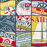 Vintage sailing stickers patchwork vector wallpaper