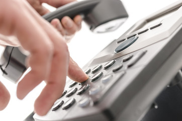 Dialing a phone number closeup