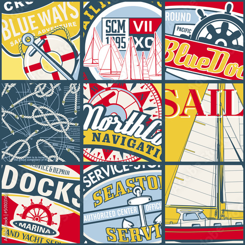 Wall mural Vintage sailing stickers patchwork vector wallpaper