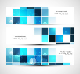 Abstract business three blue mosaic header design vector
