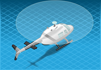 isometric white helicopter in flight in rear viwe