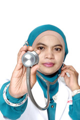 Asian young woman doctor holding a stethoscope