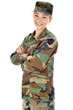 Junge Soldatin lacht