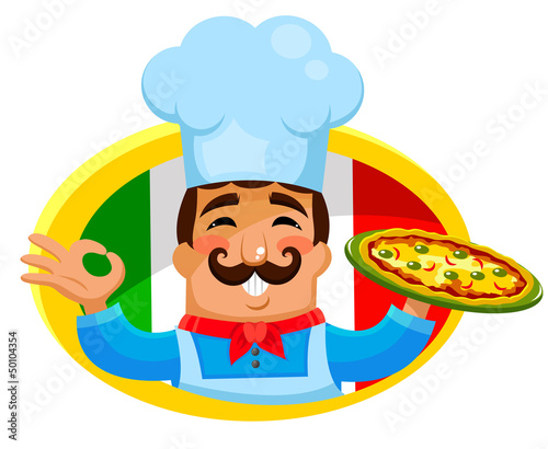 Italian chef holding a plate of pizza