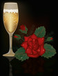 Red Rose flower and champagne, vector