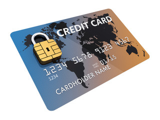 Generic credit card with security chip as padlock