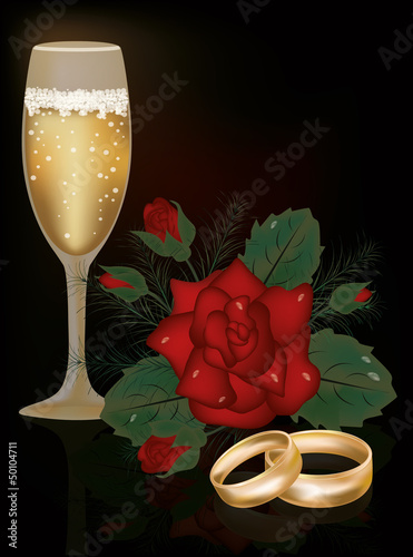 Red Rose flower and wedding rings, vector