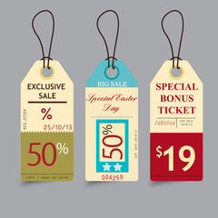 Retro Ticket Price Tags