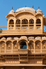 The beautiful  Haveli palace made of golden limestone in Jaisalm